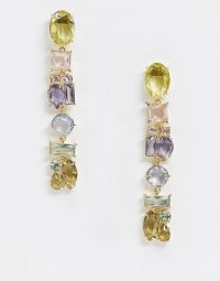 & Other Stories multi stone pendant earrings / long multicoloured drops