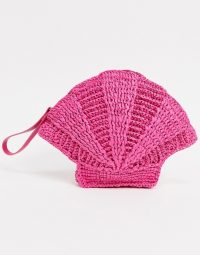 & Other Stories straw shell clutch bag with shell strap in pink
