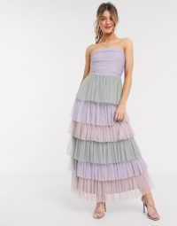 Anaya With Love bandeau contrast ruffle tiered midaxi prom dress in multi print – mauve, pink & green tiers