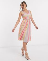 Anaya With Love Petite cross neck pleated midi dress in stripe print – candy striped dresses
