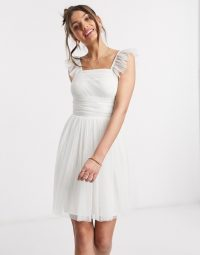 Anaya With Love Petite frill sleeve mini ruched prom dress is white – ruffle strap skater dresses
