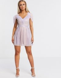 Anaya With Love Petite puff sleeve contrast mini skater dress in lilac – occasion fit and flare dresses