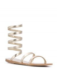 ANCIENT GREEK SANDALS Ofis spiral sandals ~ metallic ankle strap flats