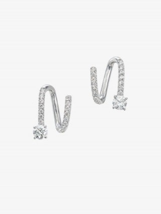 Anita Ko 18K White Gold Spiral Diamond Earrings - flipped