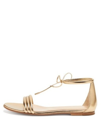 GIANVITO ROSSI Ankle-tie metallic leather sandals / gold luxe flats - flipped