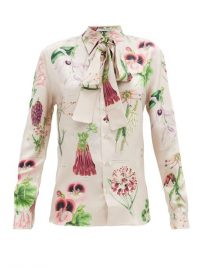 ALISTER MACKIE Annotated floral-print silk-twill shirt ~ flower printed shirts