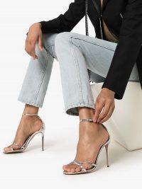 AQUAZZURA Purist 105mm silver leather sandals / metallic heels