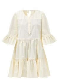 LOUP CHARMANT Arco yellow checked organic-cotton mini dress ~ feminine loose fit summer dresses ~