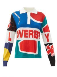 CHARLES JEFFREY LOVERBOY Art & logo-intarsia merino-wool rugby shirt