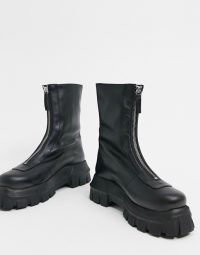 ASOS DESIGN Apricot leather chunky zip front boots in black / zipped thick-sole boot