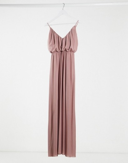 ASOS DESIGN cami plunge maxi dress with blouson top in rose | long spaghetti strap frock