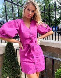 ASOS DESIGN denim multi stitch belted dress in purple   puff sleeve dresses