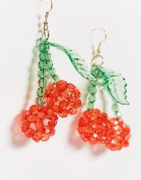 ASOS DESIGN earrings with beaded cherry drop / fruit jewellery / cherries