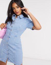 ASOS DESIGN hourglass denim structured dress in blue   short sleeve shirt dresses
