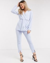 ASOS DESIGN jersey wrap suit in pale blue ~ trouser suits