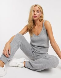 ASOS DESIGN knitted cami and jogger co-ord in grey marl | loungwear