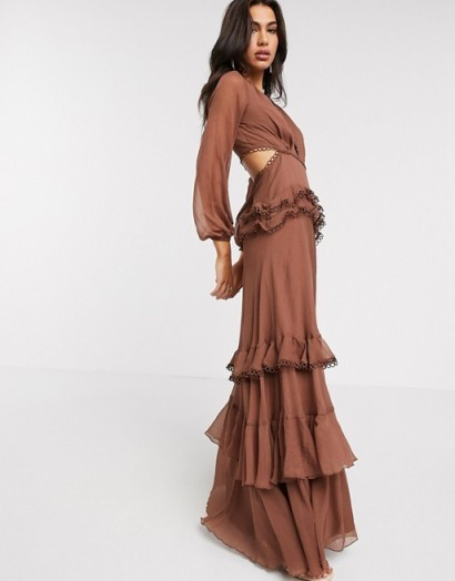 ASOS DESIGN maxi dress with long sleeve and circle trim in chocolate – cut out dresses