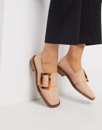 ASOS DESIGN Millicent premium leather square toe buckle loafer in beige / luxe look loafers