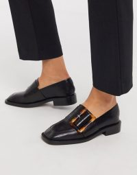 ASOS DESIGN Millicent premium leather square toe buckle loafer in black | buckled loafers