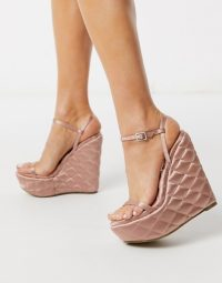 ASOS DESIGN Nifty quilted wedge in pink | luxe look wedged heels