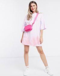ASOS DESIGN oversized t-shirt dress in pink and orange tie dye print
