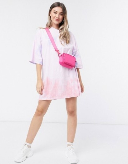 ASOS DESIGN oversized t-shirt dress in pink and orange tie dye print - flipped