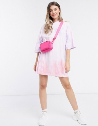 ASOS DESIGN oversized t-shirt dress in pink and orange tie dye print