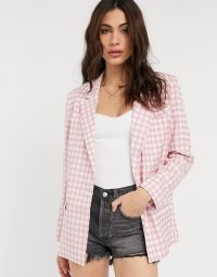 ASOS DESIGN 3 piece suit in pink gingham / shorts, bralet and jacket co-ords / summer suits