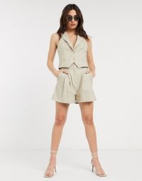 ASOS DESIGN suit short in camel grid check / shorts / co-ords