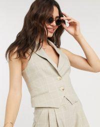 ASOS DESIGN suit waistcoat in camel grid check / waistcoats