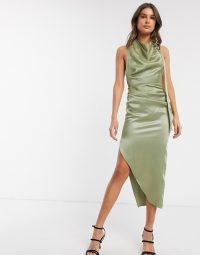 ASOS DESIGN Tall halter drape detail midi dress with buckle in sage – draped asymmetric dresses