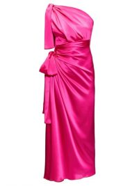 DOLCE & GABBANA Pink asymmetric knotted silk-satin dress ~ glamorous Italian event wear