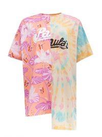 LOEWE PAULA'S IBIZA Asymmetric palm leaf-print tie-dye T-shirt / mixed prints