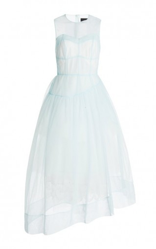 Simone Rocha Asymmetric Sheer Tulle Corset Dress ~ dreamy blue dresses