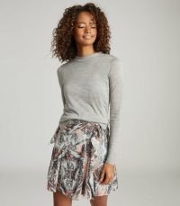 REISS AURELLIE SEMI-SHEER SLIM-FIT TOP GREY MARL ~ wardrobe essentials ~ essential long sleeve tops