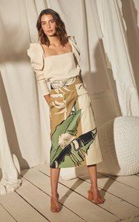 Johanna Ortiz Authentic Manuscript Printed Cotton-Blend Skirt