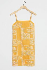 ANTHROPOLOGIE Akriti Square Neck Cami Dress in Maize ~ yellow summer slip dresses