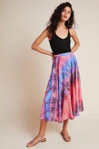 Bl-nk Joni Tie-Dye Midi Skirt Purple Motif