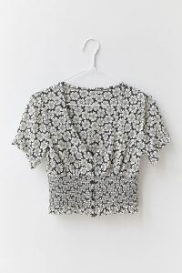 UO Bennett Button-Through Smocked Top Black and White
