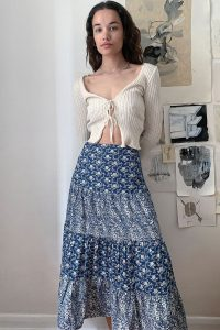 Urban Renewal Inspired By Vintage Elena Blue Tiered Skirt