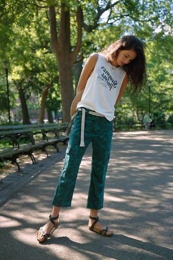 ANTHROPOLOGIE Austin Cargo Trousers Dark Turquoise - flipped