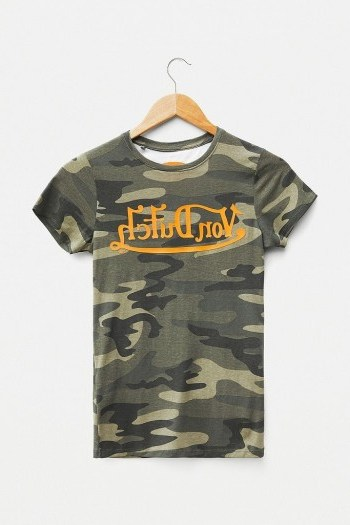 Von Dutch Camo Logo T-Shirt Khaki - flipped
