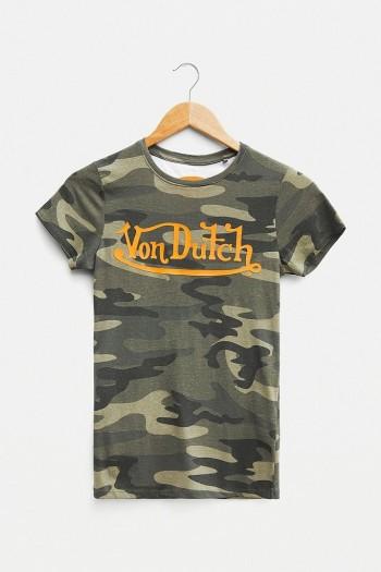 Von Dutch Camo Logo T-Shirt Khaki