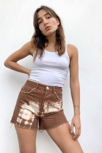 BDG Pax Brown Tie-Dye Denim Shorts / raw hems