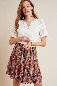 Vineet Bahl Patrice Tiered Mini Skirt ~ mixed print summer skirts