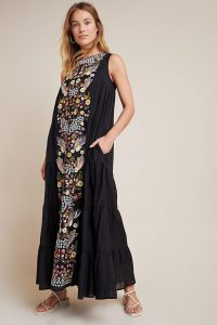 Samant Chauhan Jacaranda Tiered Maxi Dress / black cotton summer dresses