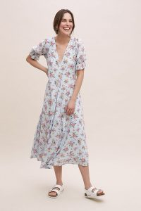 Faithfull The Brand Maggie Floral-Print Dress Blue Motif