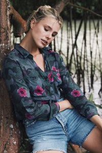 Cloth & Stone Gigi Shirt Green Motif ~ camo and flower print shirts