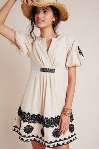 ANTHROPOLOGIE Orla Embroidered Mini Dress / puff sleeve dresses
