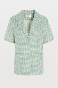 Hosbjerg Sarah Gingham Blazer Green ~ short sleeve summer jackets